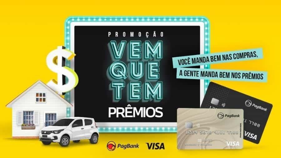 Promoção PagBank e Visa promove 180 sorteios semanais, 3 carros e 1 casa