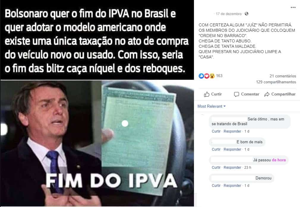 Mensagem fake do IPVA 2020 relacionada a Bolsonaro viraliza