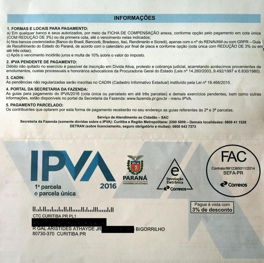 IPVA 2020 do Paraná recebe modernização da Receita