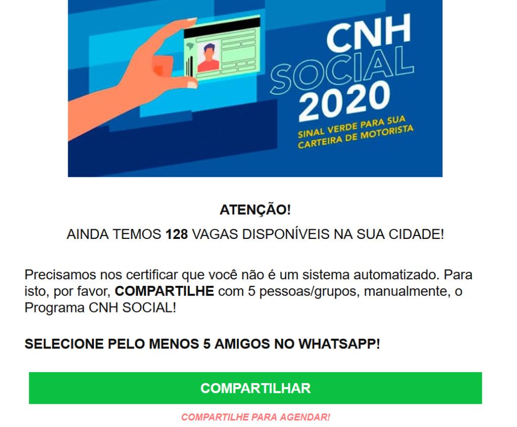 Divulgação de CNH gratuita é na verdade roubo de dados; veja!