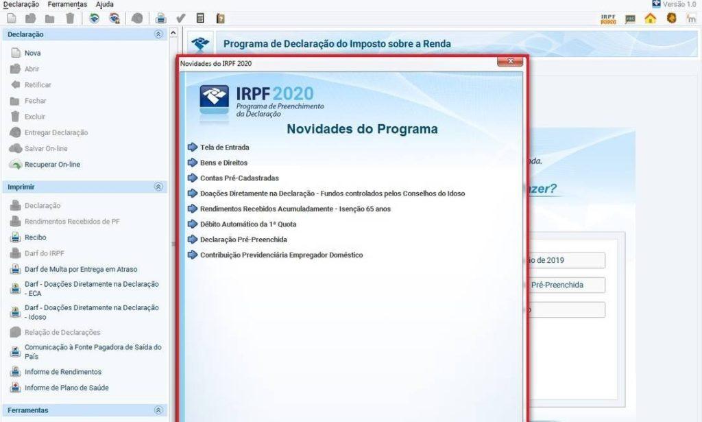 Programa IRPF 2020 Foto: Reprodução / Receita Federal