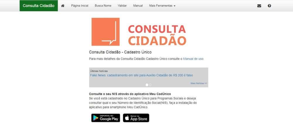 Consulta Cidadão: acesse e veja se está no CadÚnico (Imagem: Reprodução - Google)