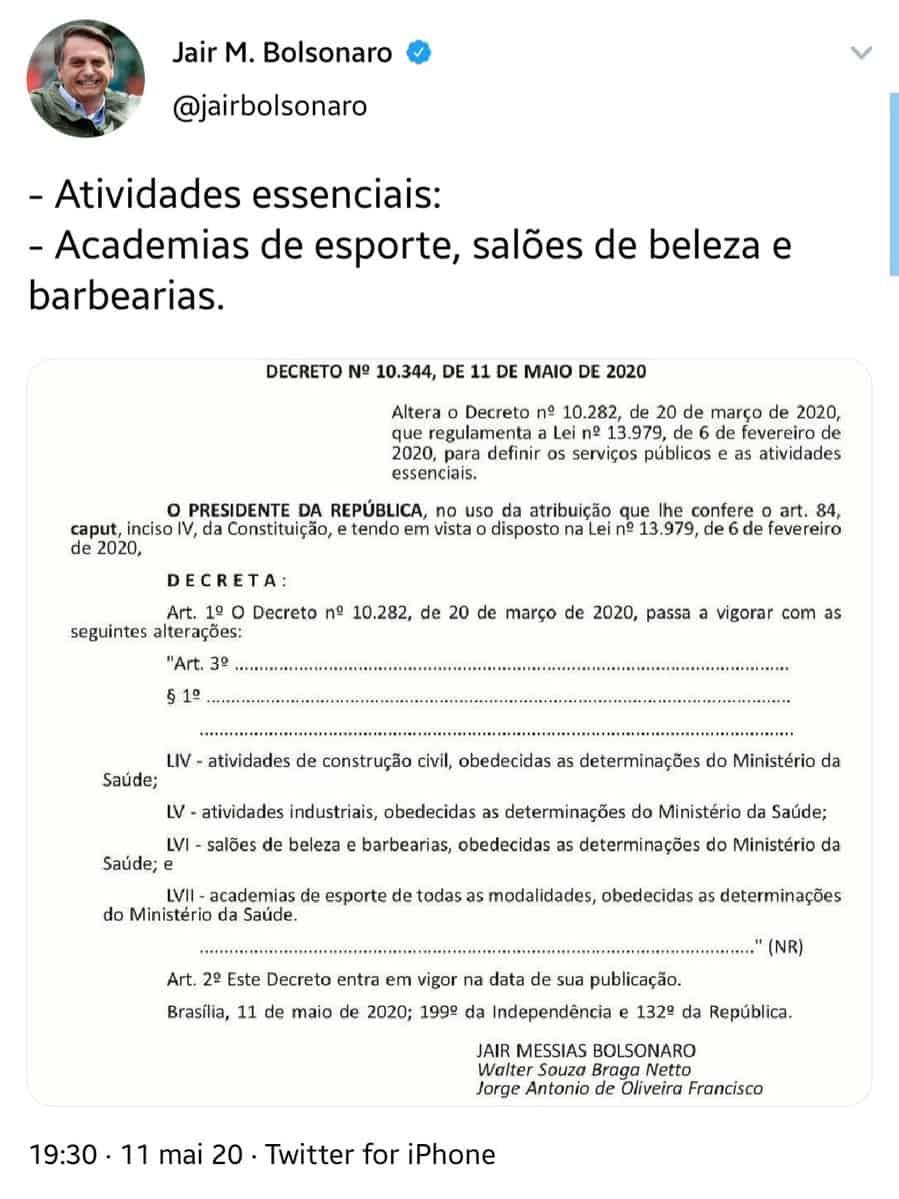 Bolsonaro confirma atualização na lista de serviços essenciais na pandemia (Imagem: Reprodução - Google)