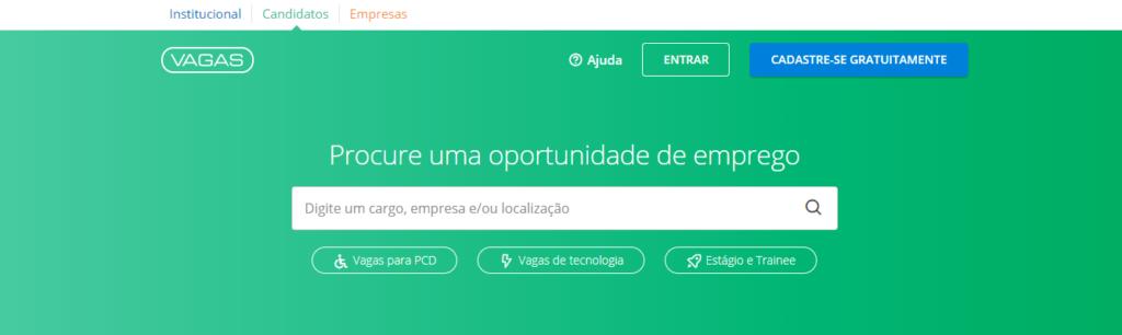 Plataformas de busca de empregos: Vagas.com