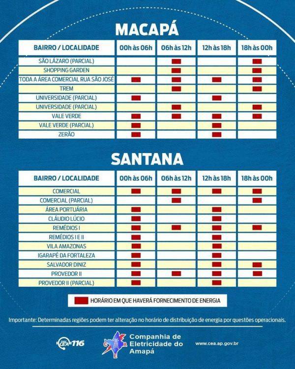 Amapá - cronograma de rodízio - comunidades e cidades do interior — Foto: CEA/Divulgação