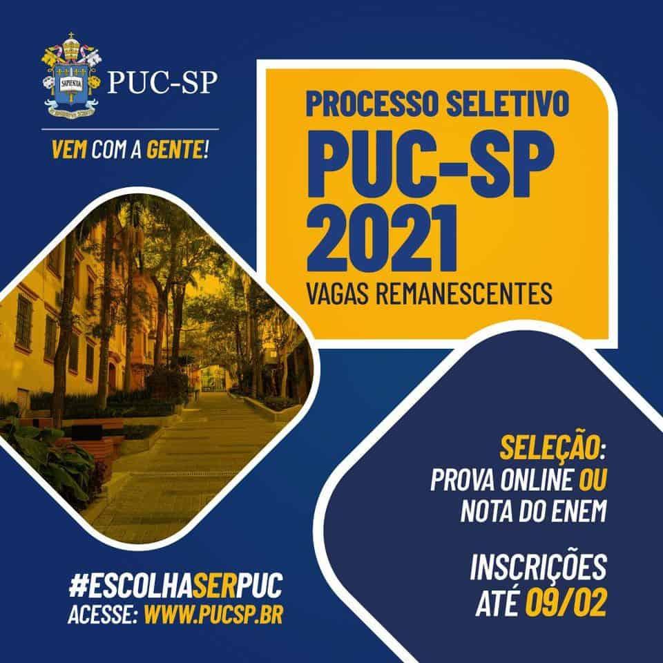 PUC-SP encerra inscrições das vagas remanescentes em breve; confira como fazer!