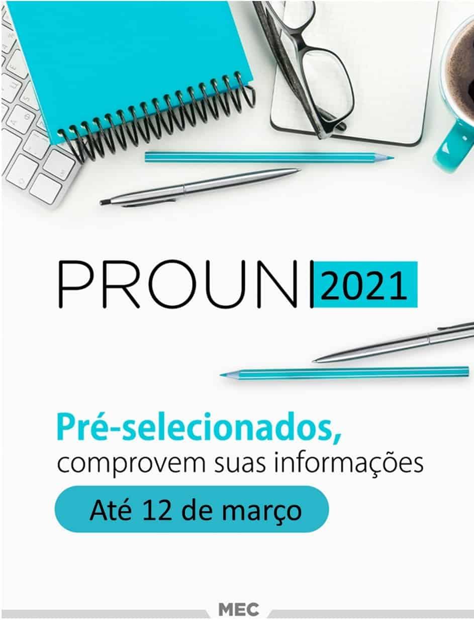 Lista de documentos necessários para comprovar matrícula no PROUNI 2021