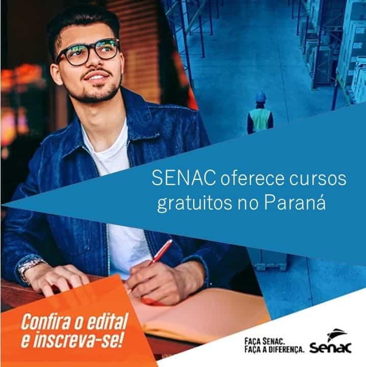 SENAC tem 1 mil vagas em cursos gratuitos no Paraná; inscreva-se
