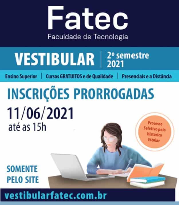 Inscrições no vestibular da FATEC são prorrogadas até a próxima semana
