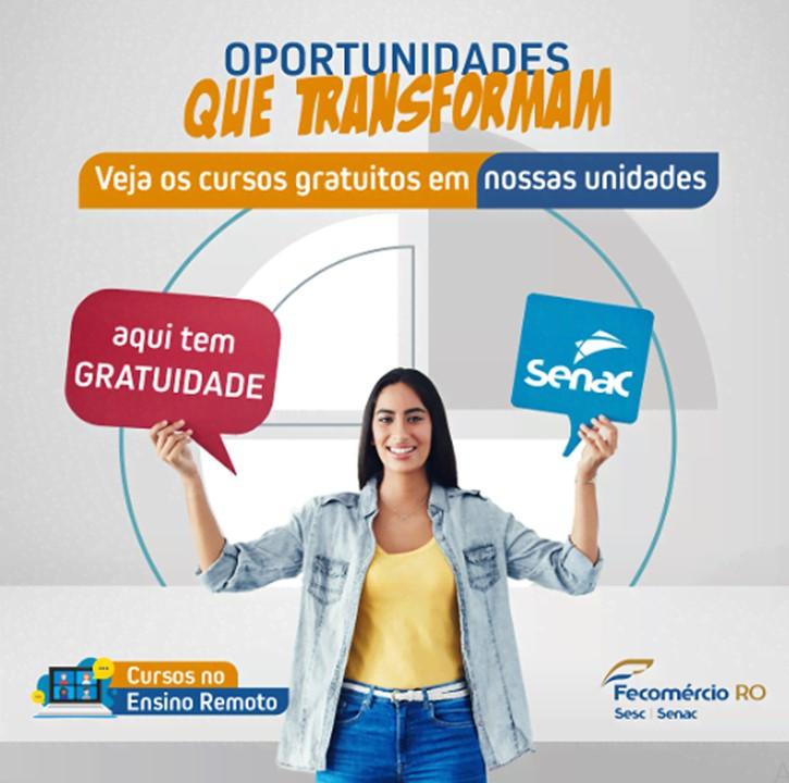 Inscrições abertas em cursos gratuitos nas unidades do SENAC-RO