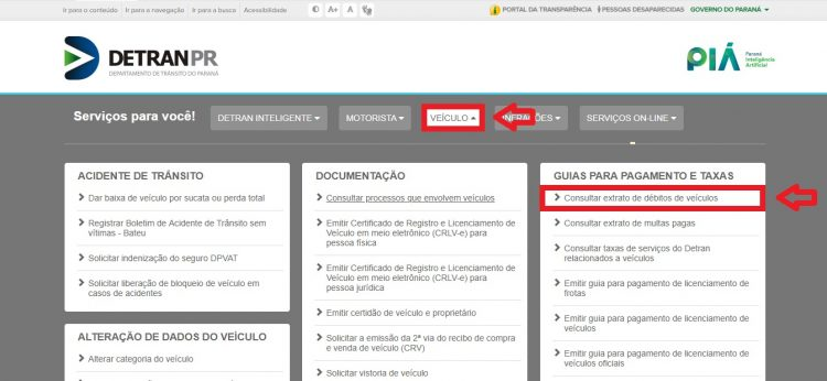Página inicial do site do Detran-PR