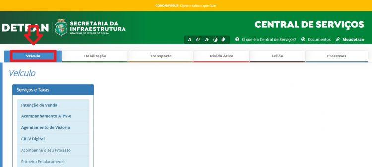 Página inicial da Central de Serviços do Detran-CE