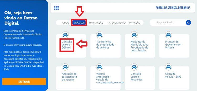 Página inicial do Portal de Serviços do Detran-DF