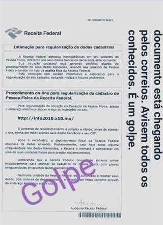 Cuidado! Fraude usando nome da Receita Federal tem chego por correspondência (Foto:Receita Federal)