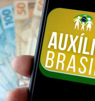 Imagem com logotipo alternativo do novo programa do governo federal, o Auxílio Brasil, feito pelo FDR