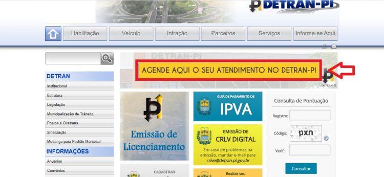 Página inicial do site do Detran- PI