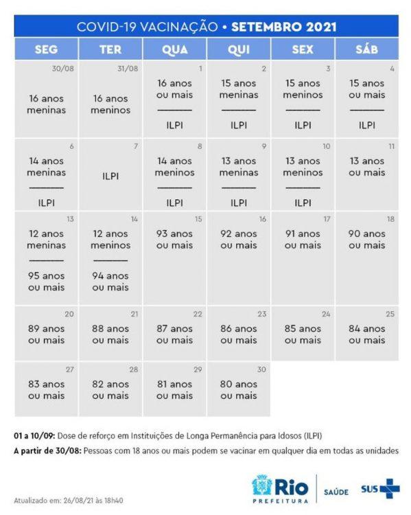 Calendário de vacinação covid-19 no Rio de Janeiro (Foto: Prefeitura do RJ)