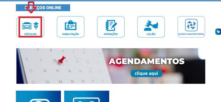 Página inicial do site do Detran- PB
