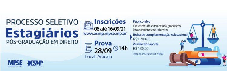 Inscrições abertas nas vagas de estágio do Ministério Público de Sergipe
