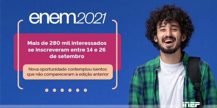 Novo período de inscrição no ENEM 2021 registrou 281 mil novos candidatos