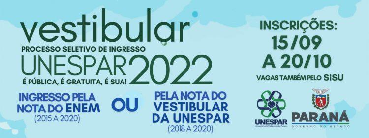 Taxa do vestibular 2022 da Unespar aceita pedidos de isenção neste mês